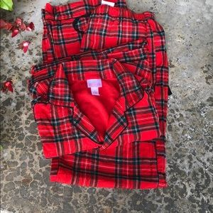 Wonderland Two Pc Flannel Red Plaid Pajamas - S